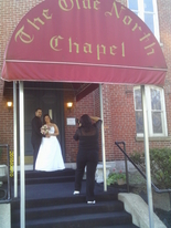 On the steps of Richmond Indiana wedding chapel, The Olde North Chapel