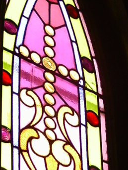 The Olde North Chapel original stained glass window, Indiana wedding chapel venue window