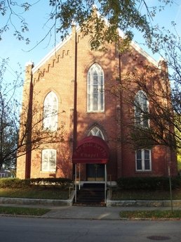 Historic Indiana wedding chapel Venue Richmond, Indiana.  The Olde North Chapel located in the Starr Historic District, Richmond, IN