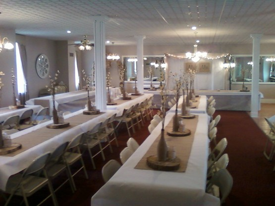 The Olde North Wedding Chapel's Banquet Room, Richmond, Indiana.  Decorated for a Summer wedding.  Lemonade and Barbeque